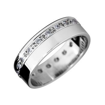 Zlatý snubní prsten č. 316 se zirkony (briliant. vzor) - 585/5,10g
