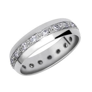 Zlatý snubní prsten č. 340 - 585/3,05g se zirkony (briliant. vzor)