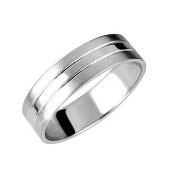 Zlatý snubní prsten č. 341 - 585/4,60g z bílého zlata