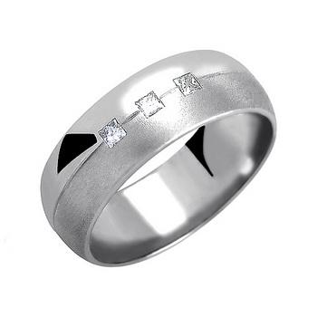 Zlatý snubní prsten č. 346 se zirkony (briliant. vzor) - 585/6,75g z bílého zlat