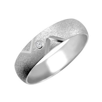 Zlatý snubní prsten č. 350 - se zirkony (briliant. vzor) 585/3,70g z bílého zlat