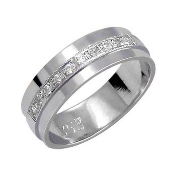 Zlatý snubní prsten č. 353 - se zirkony (briliant. vzor) 585/4,50g z bílého zlat