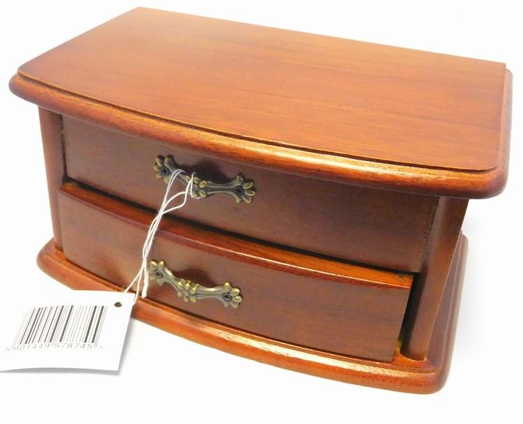 Dřevěná dvoupatrová šperkovnice na drahé šperky 57874 se zrcadlem