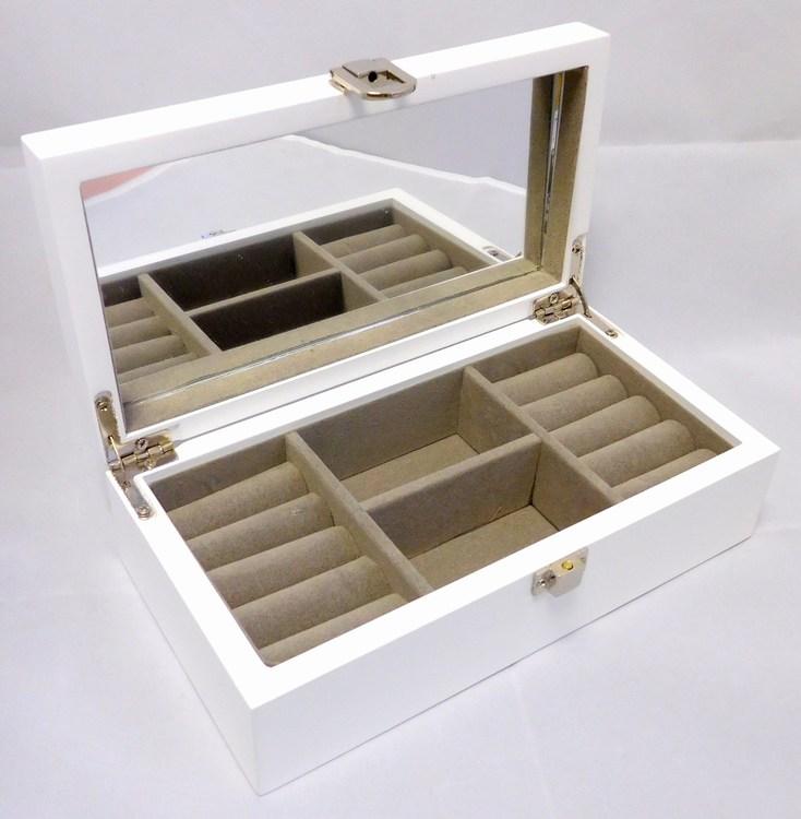 Bílá dřevěná šperkovnice se čtyřmi boxy MSW55W s proskleným víkem