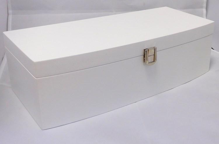 Velká bílá dřevěná šperkovnice se skytým patrem MSW30W s proskleným víkem
