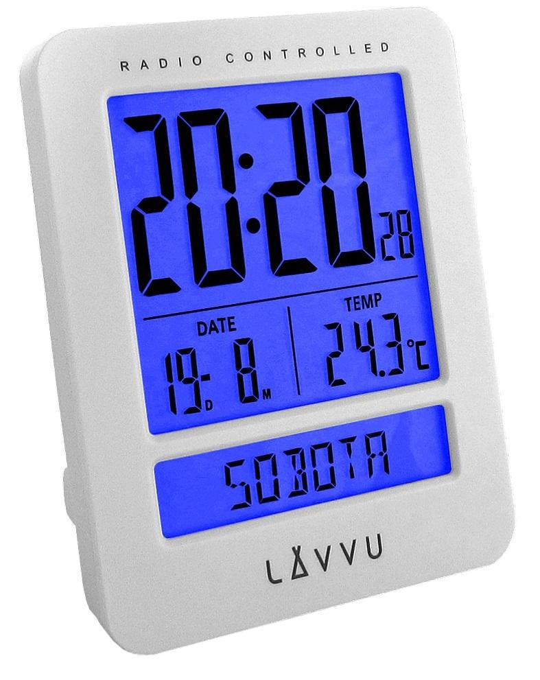 Digitální budík řízený rádiovým signálem LAVVU Duo White LAR0020