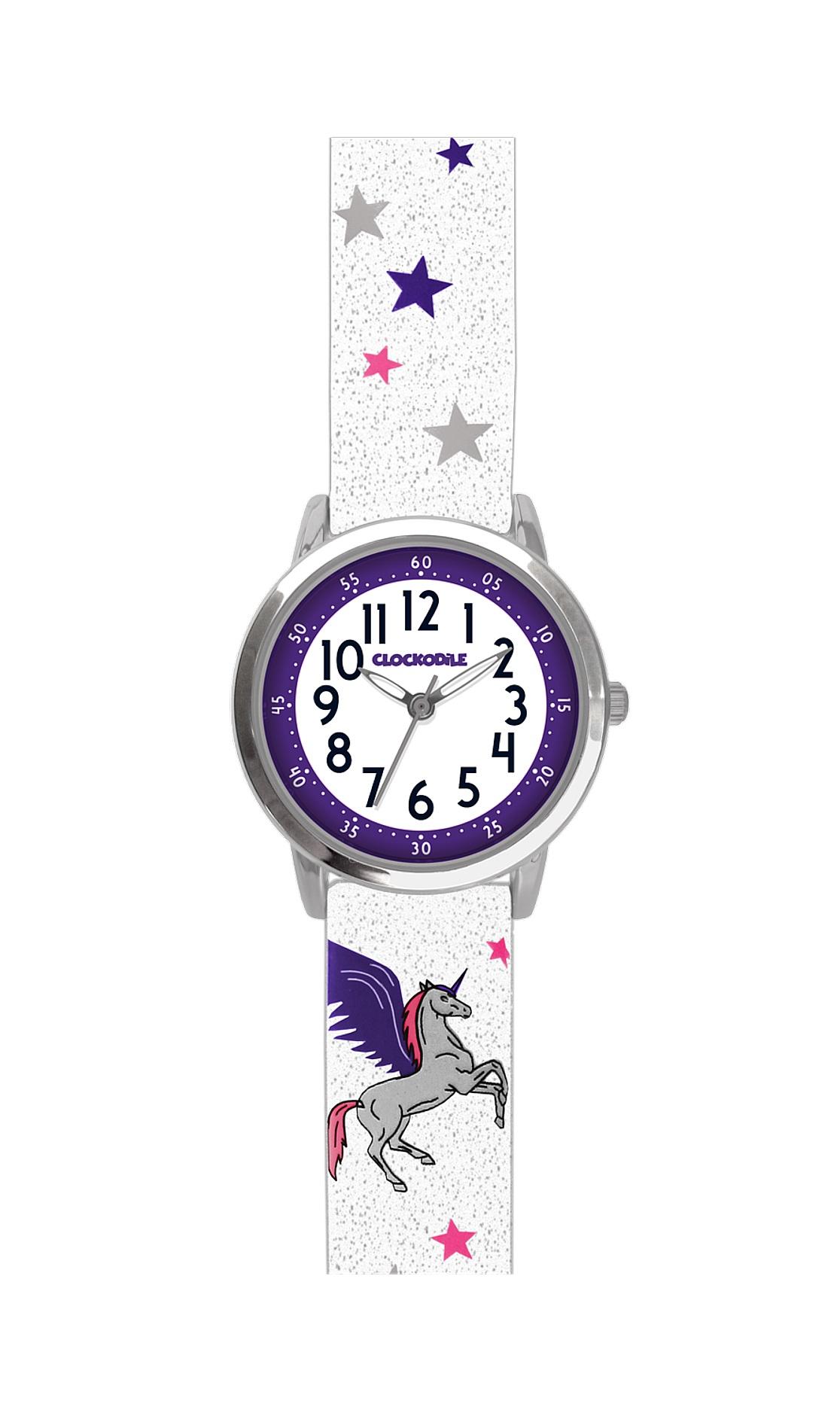 Třpytivé dívčí hodinky se stříbrným jednorožcem CLOCKODILE UNICORNS CWG5032