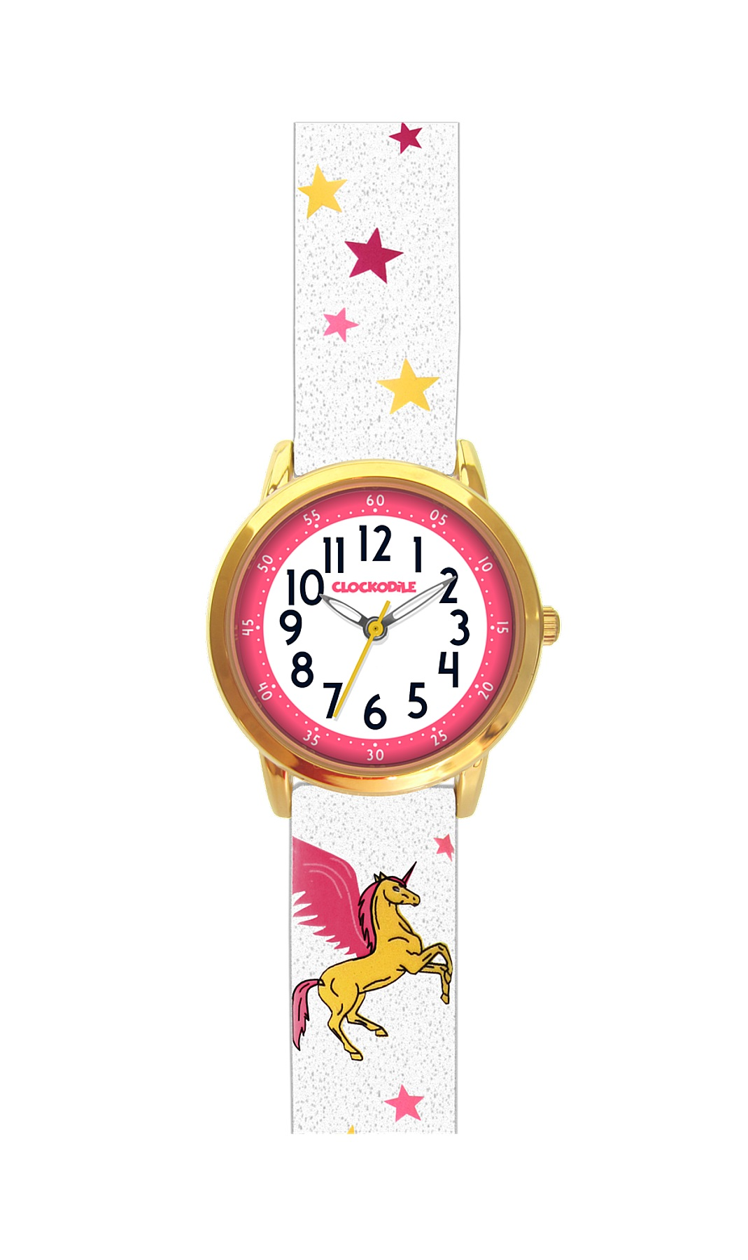 Třpytivé dívčí hodinky se zlatým jednorožcem CLOCKODILE UNICORNS CWG5031