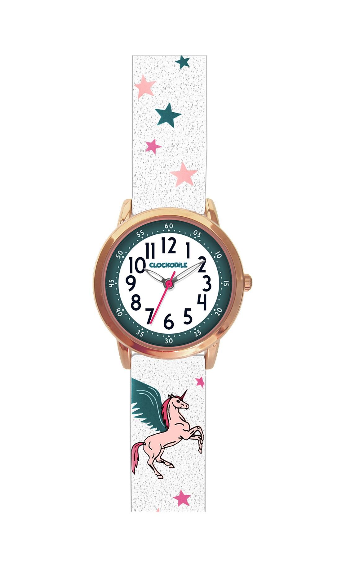 Třpytivé dívčí hodinky s růžovým jednorožcem CLOCKODILE UNICORNS CWG5030