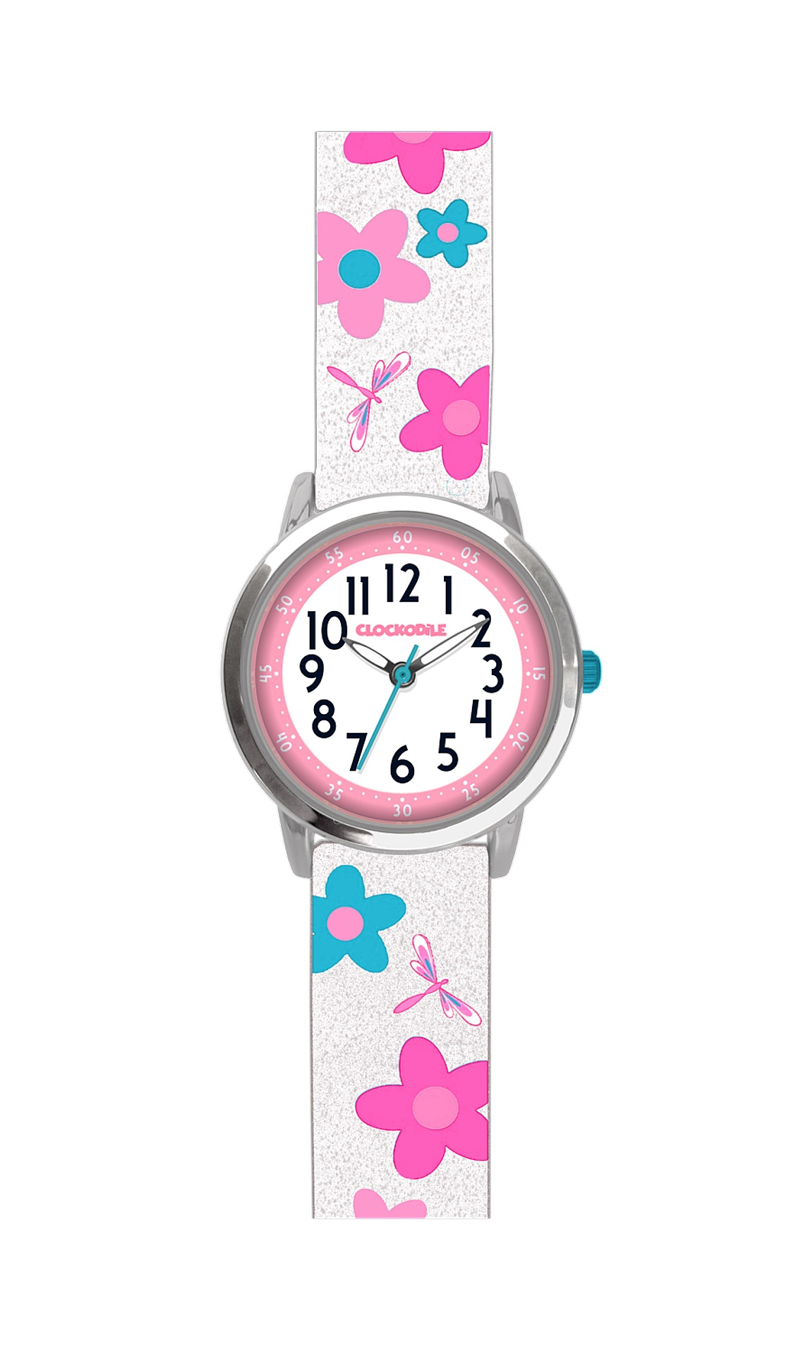 Květované bílé dívčí hodinky CLOCKODILE FLOWERS se třpytkami CWG5022