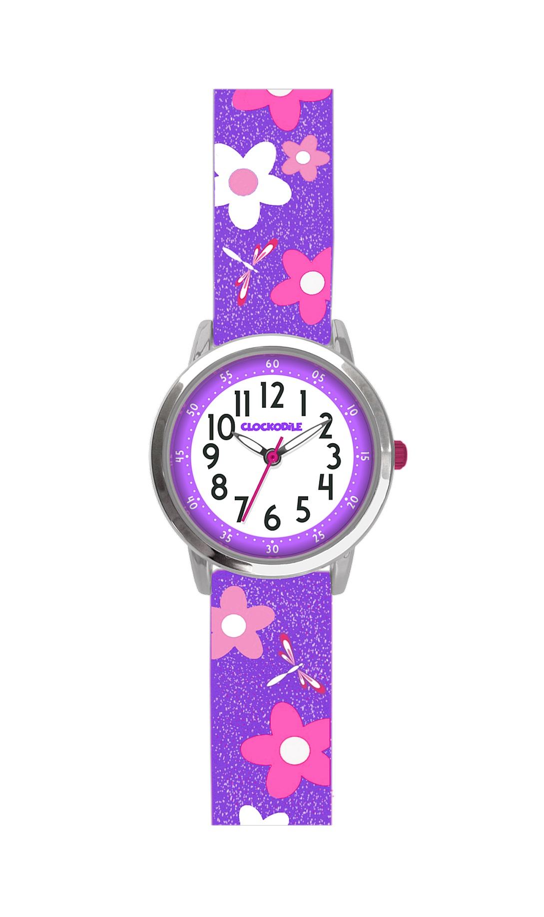 Květované fialové dívčí hodinky CLOCKODILE FLOWERS se třpytkami CWG5021