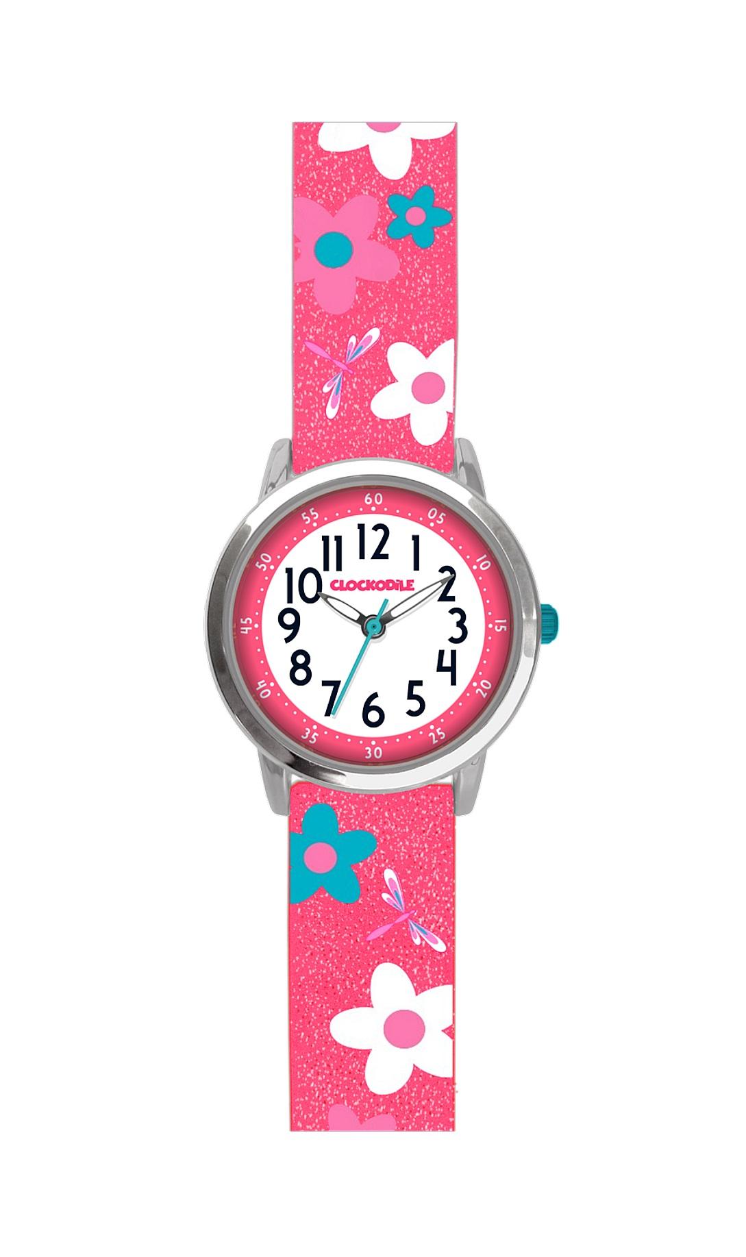 Květované růžové dívčí hodinky CLOCKODILE FLOWERS se třpytkami CWG5020