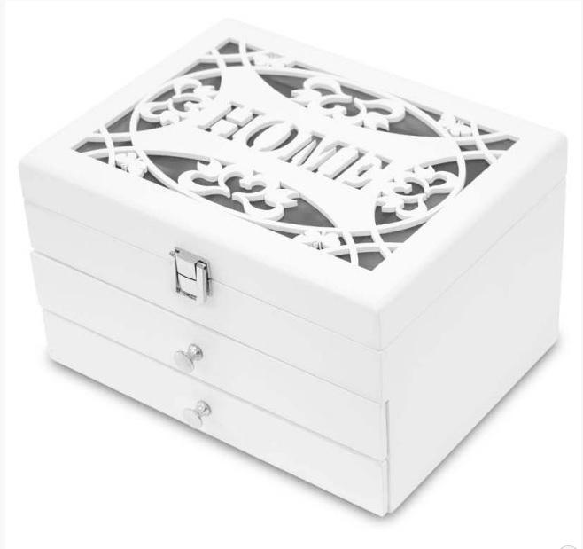 Bílá dřevěná zdobená třípatrová šperkovnice s nápisem HOME 113549