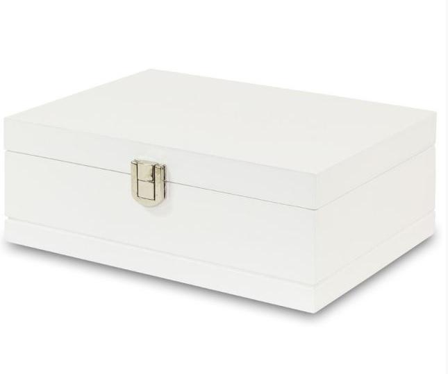 Bílá dřevěná jednopatrová šperkovnice 104808