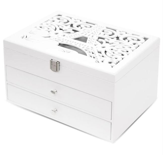 Bílá dřevěná zdobená třípatrová šperkovnice PARIS 113556