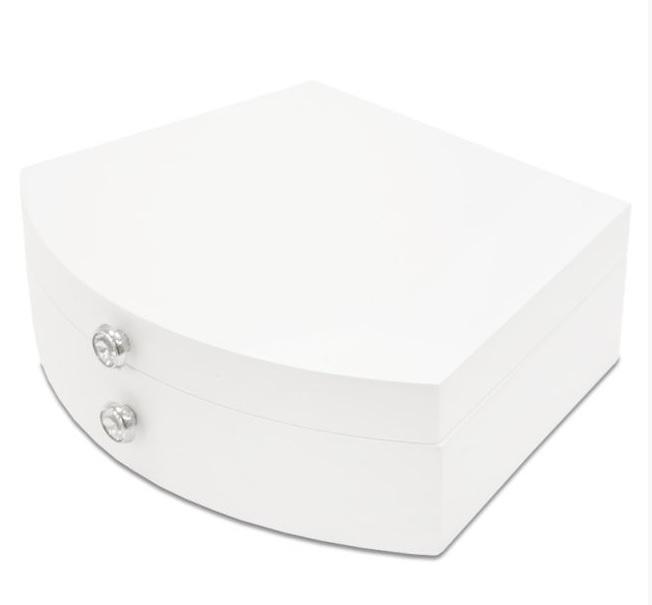 Bílá dřevěná jednopatrová šperkovnice 113555 s proskleným víkem