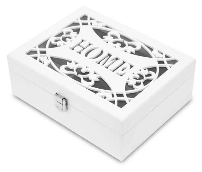 Bílá dřevěná zdobená jednopatrová šperkovnice s nápisem HOME 113548