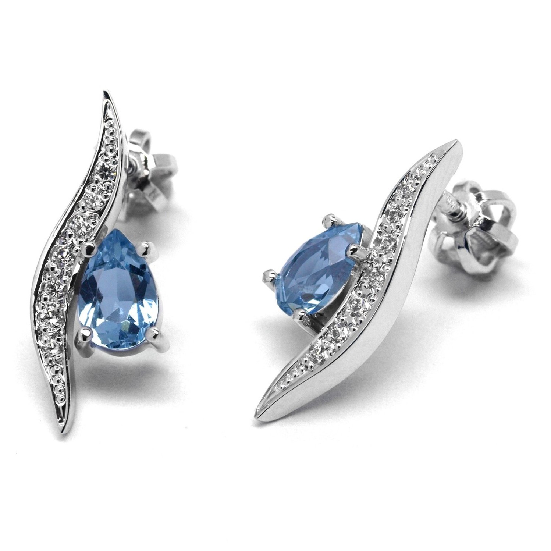 Diamantové náušnice z bílého zlata s akvamaríny a diamanty J-28159-17