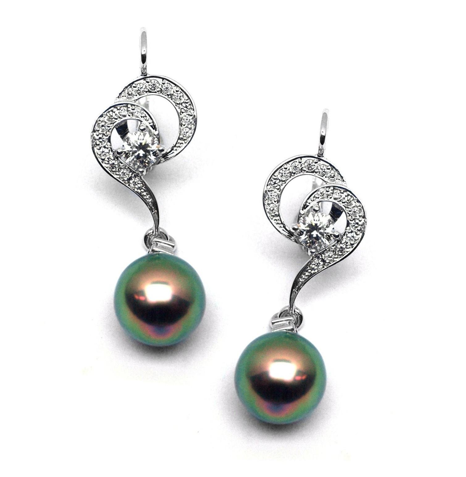 Diamantové zlaté náušnice Náušnice s tahitskými perlami a diamanty J-28334-17