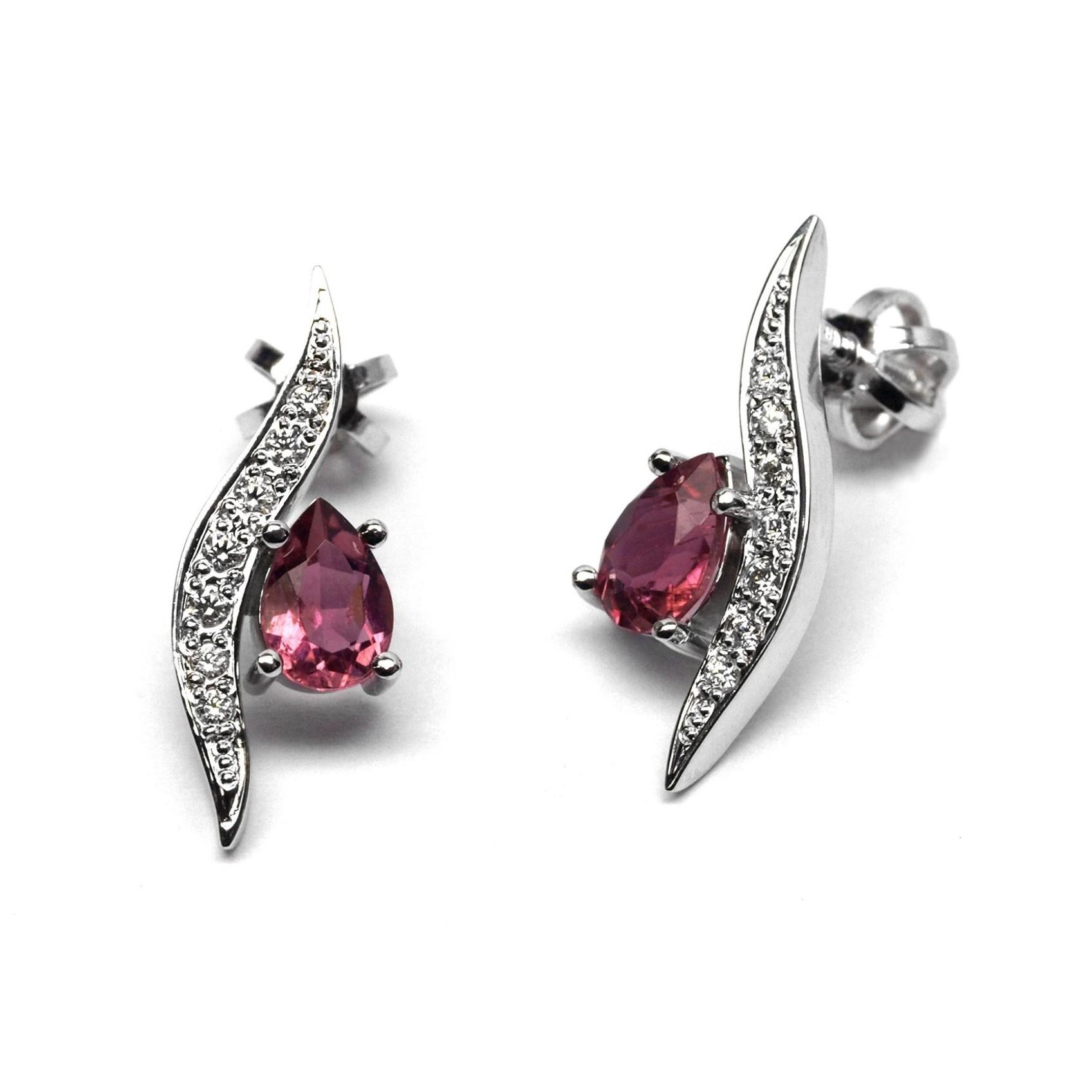 Luxusní náušnice s růžovými turmalíny a diamanty J-28155-17 na šroubek