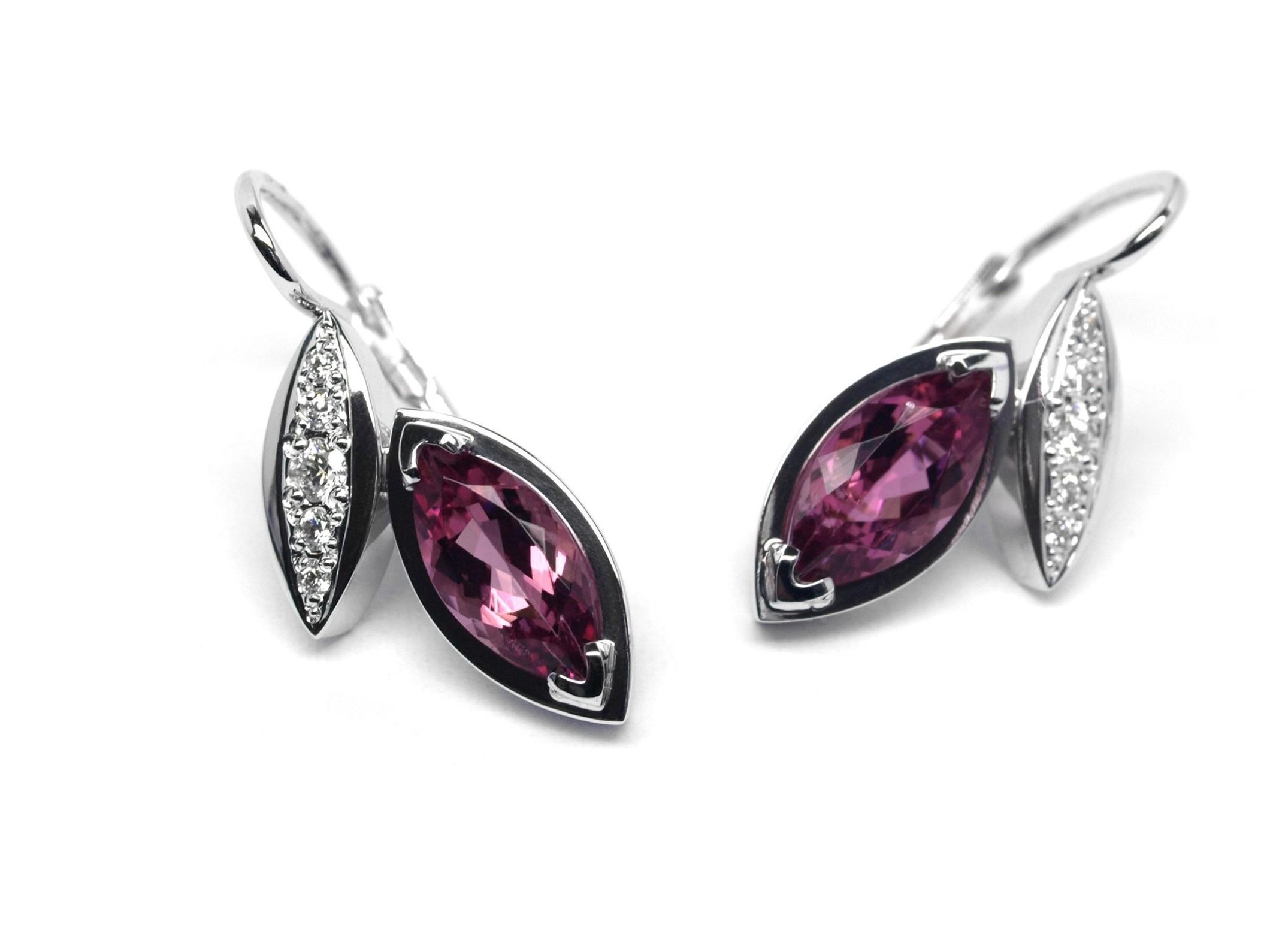 Luxusní náušnice s růžovými turmalíny a diamanty J-28480-17
