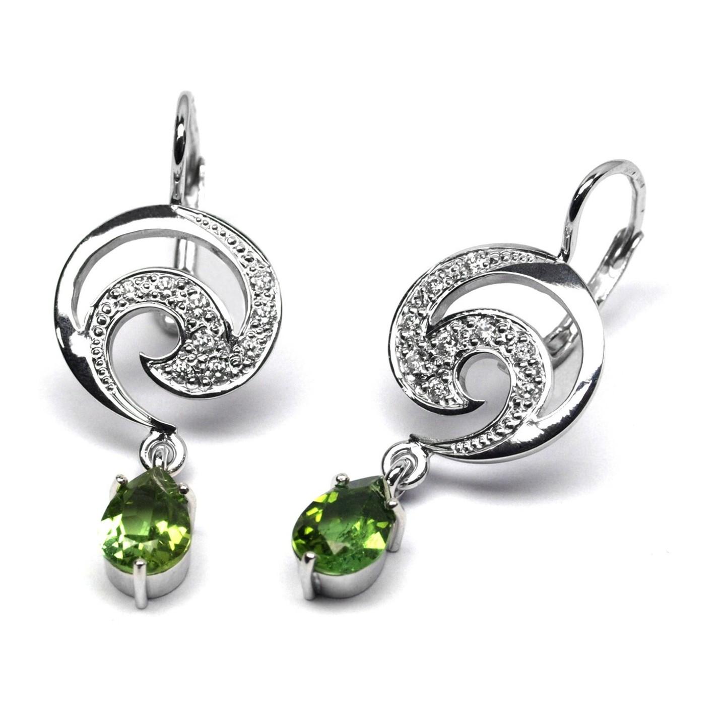 Diamantové zlaté náušnice s turmalíny a diamanty J-28496-17