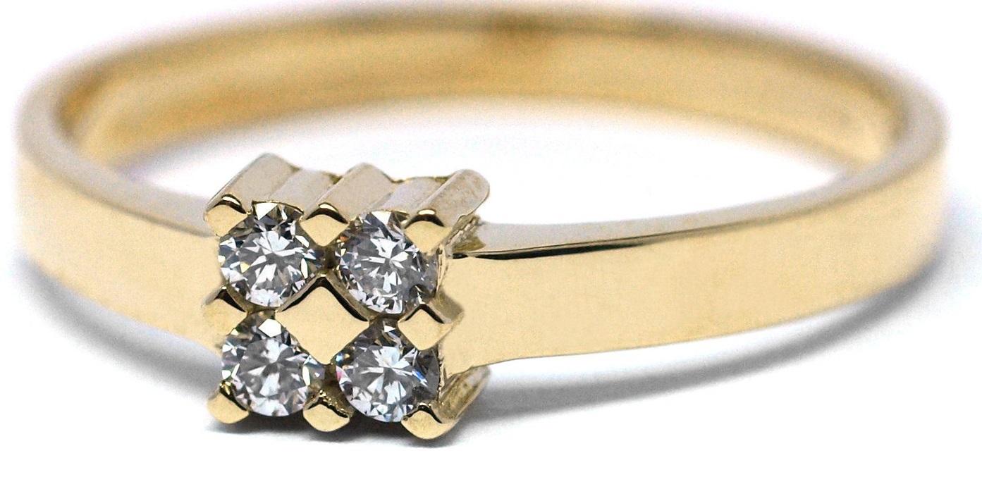 Luxusní diamantový zlatý prsten s diamanty se čtyřmi diamanty J-29935-18