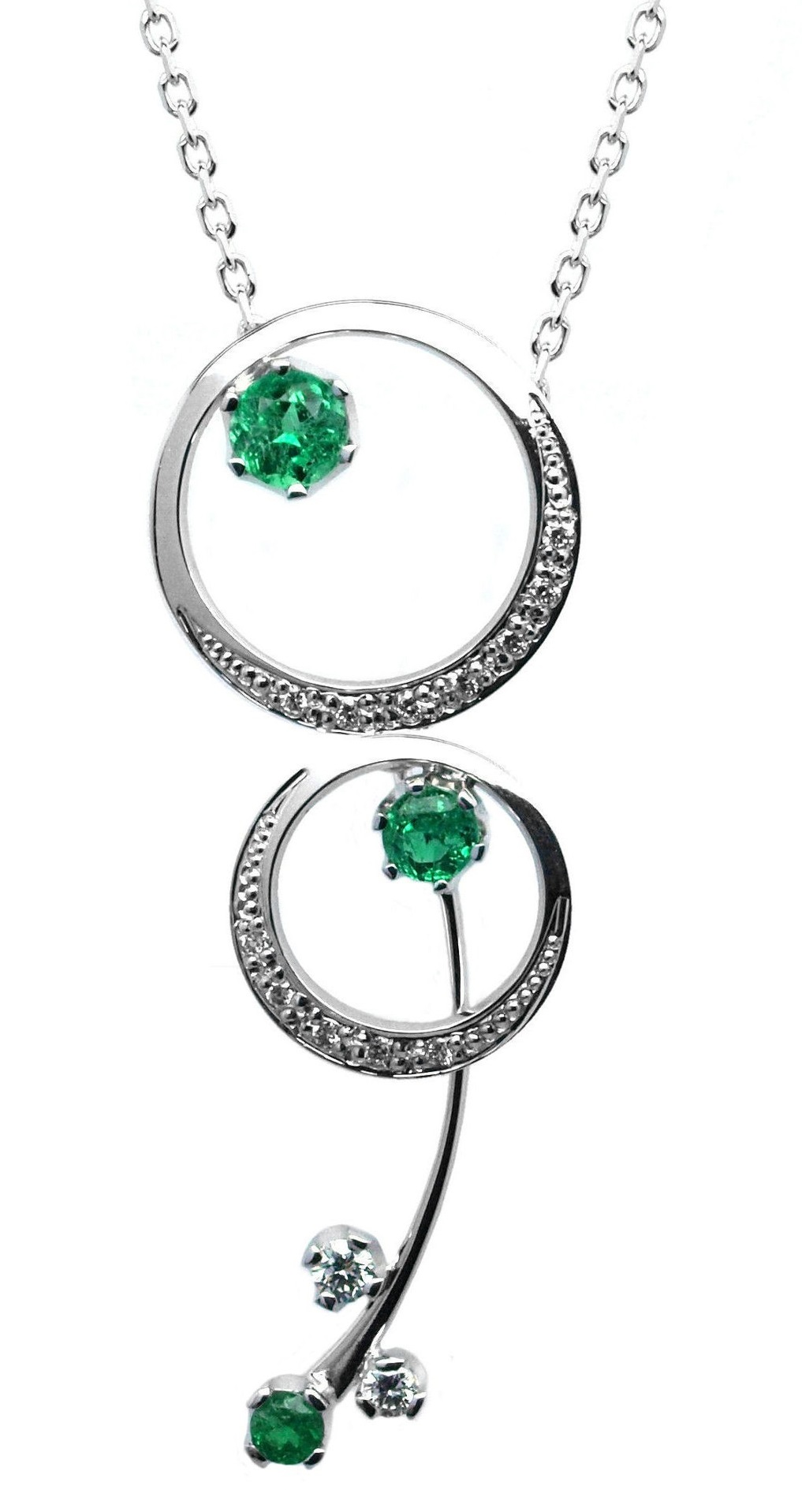 Ručně vyrobený náhrdelník z bílého zlata se smaragdem a diamanty J-29527-17