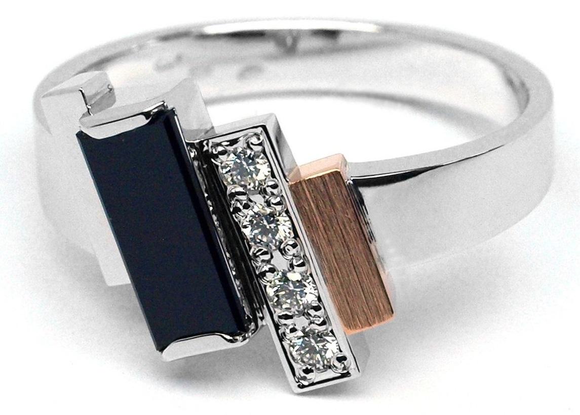Ručně vyrobený prsten s černým spinelem a diamanty J-29024-17