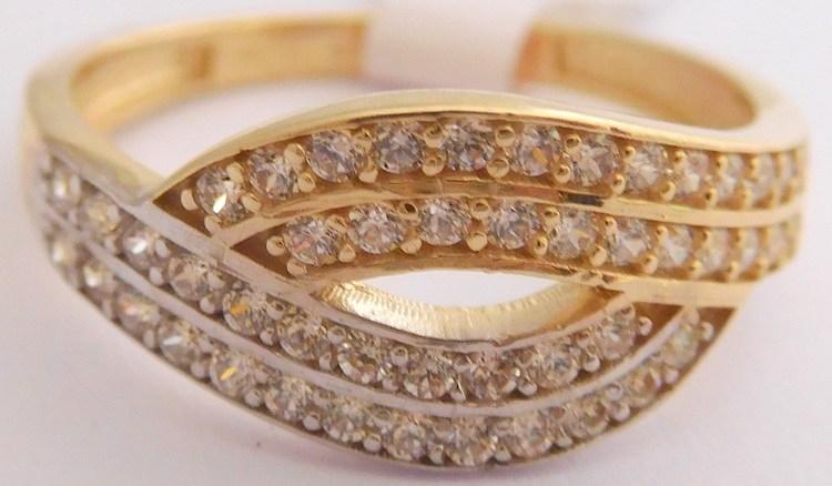 0e6d27ef6 Mohutný masivní zlatý dámský prsten posetý mnoha zirkony 585/3,10gr vel. 58  H990