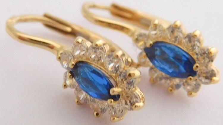 Dámské zlaté náušnice se modrými safíry a zirkony okolo 585/1,66gr H988
