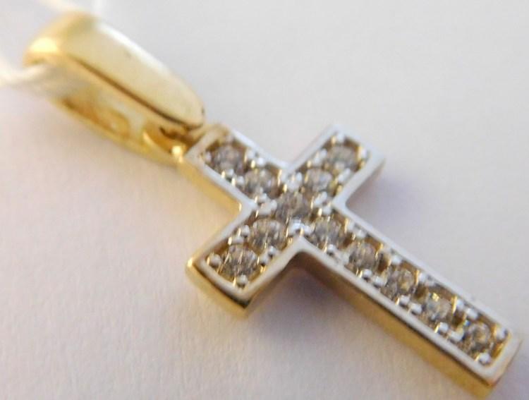 Zlatý křížek - přívěsek se zirkony 11ks z bílého a žlutého zlata 585/0,82gr H979