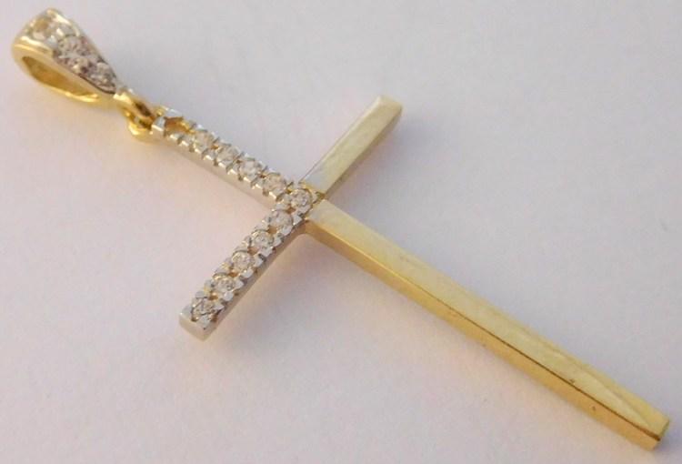 Velký zlatý křížek posetý zirkony (i na očku) 30x17mm 585/1,22gr H978