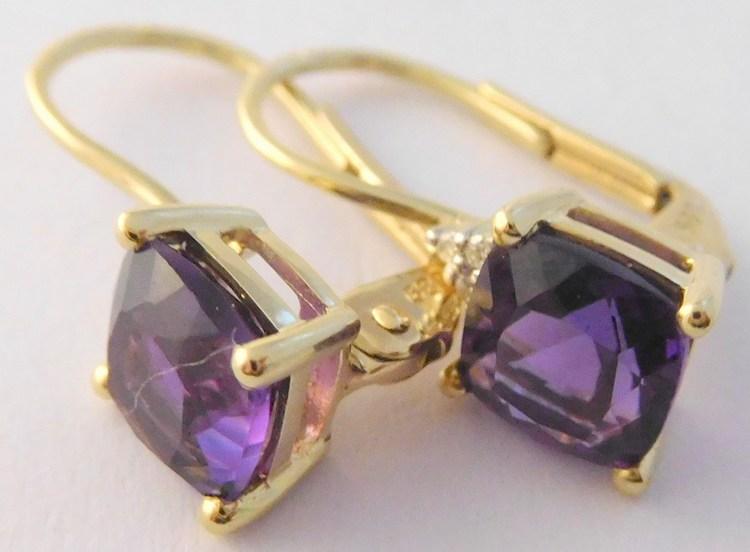 Mohutné diamantové zlaté náušnice s velkými fialovými ametysty 585/1,85g 3830189