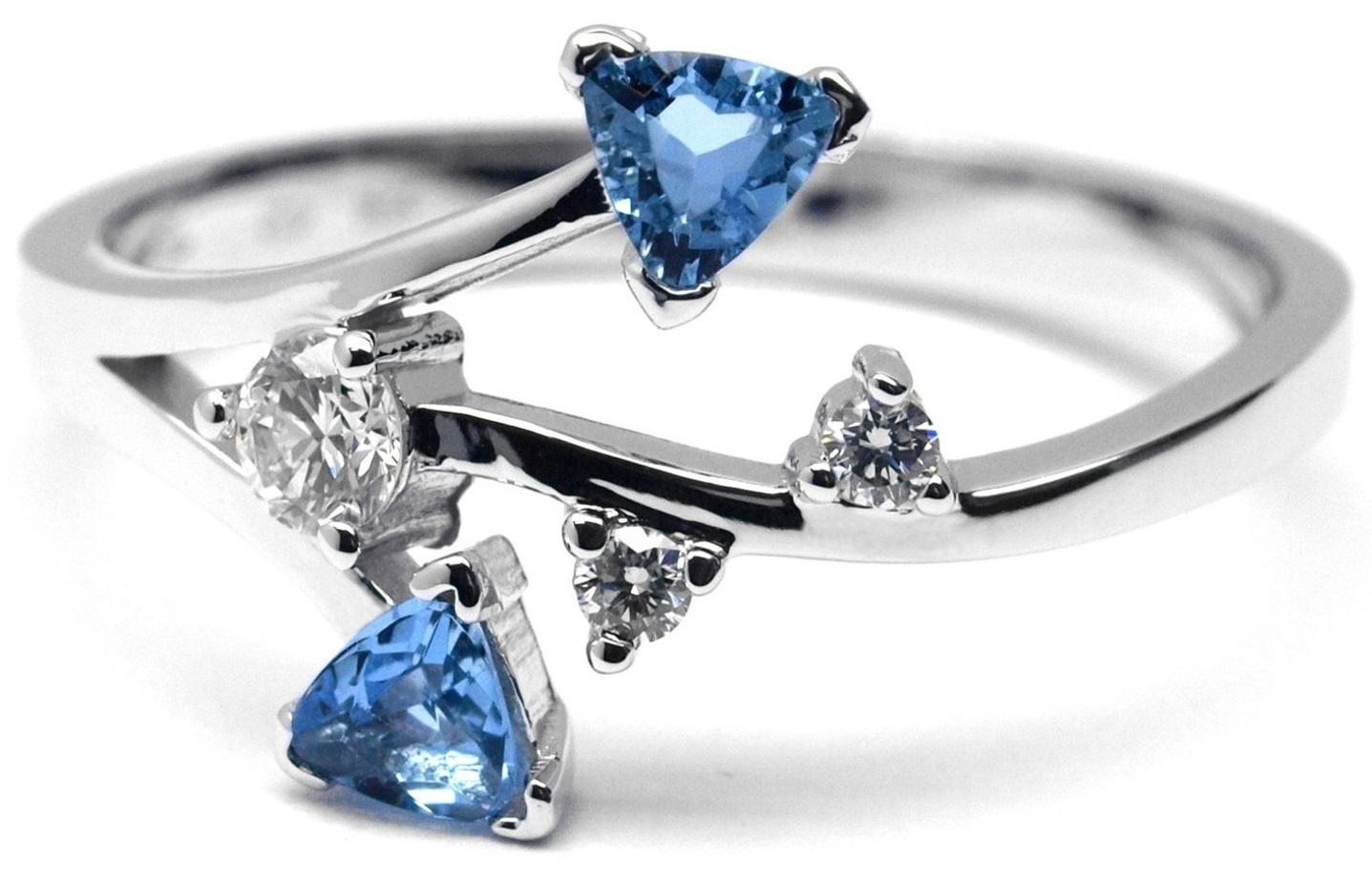 Prsten z bílého zlata s akvamarínem a diamanty J-28301-17