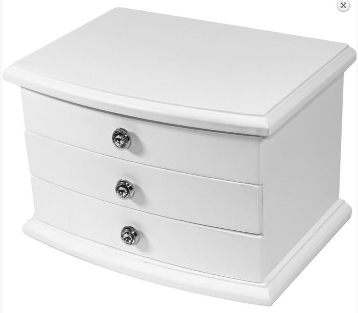 Bílá dřevěná třípatrová šperkovnice 26953/101524 s proskleným víkem (3xšuplíky)