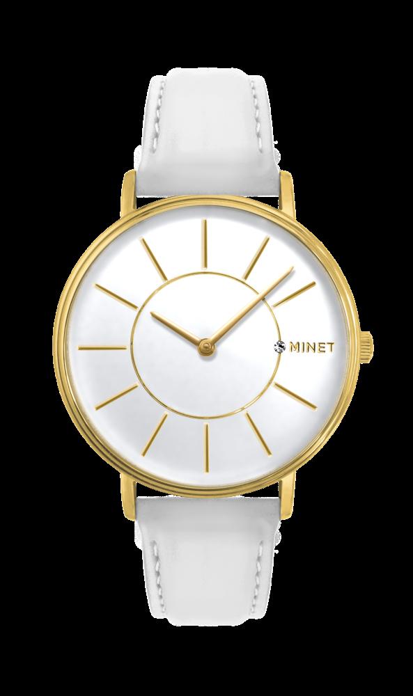 Zlato-bílé dámské hodinky MINET BROADWAY LUXURY WHITE MWL5036
