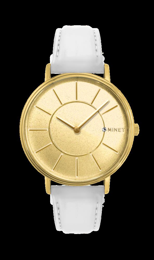 Třpytivé zlato-bílé dámské hodinky MINET BROADWAY GOLD STAR MWL5030