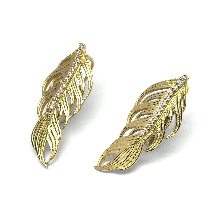 Náušnice s diamanty ze žlutého zlata ručně vyrobené andělská křídla J-29944-18