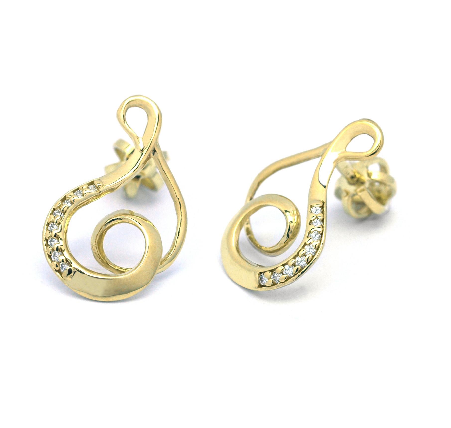 6b573e55c Zlaté náušnice s diamanty ze žlutého zlata ručně vyrobené J-29927-18 ...