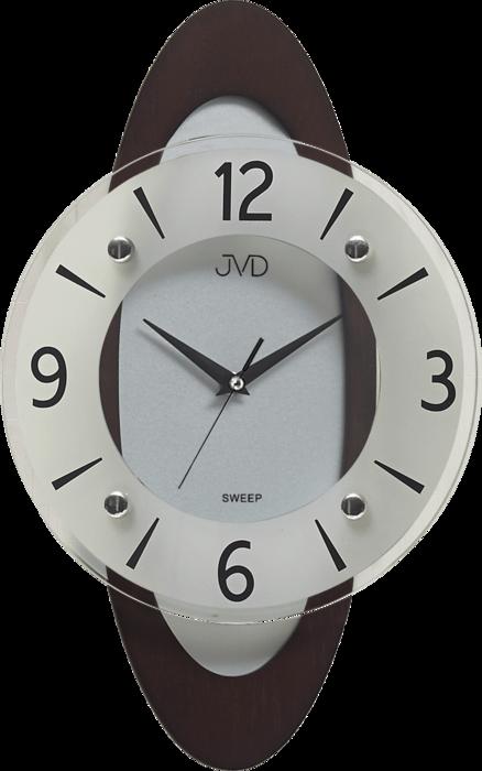 Netikající tiché dřevěné skleněné hodiny JVD NS17011/23 s tichým chodem