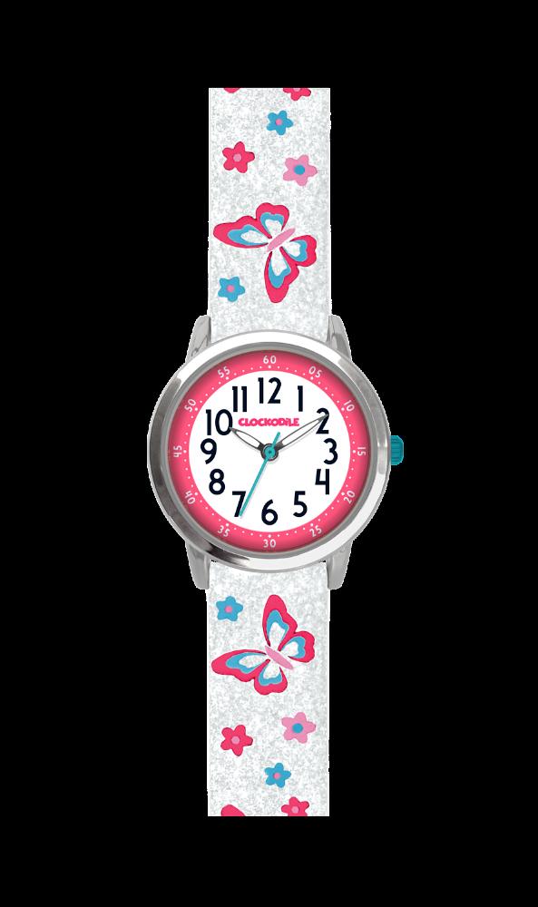 Svítící motýlí bílé dívčí hodinky CLOCKODILE BUTTERFLIES se třpytkami CWG5041