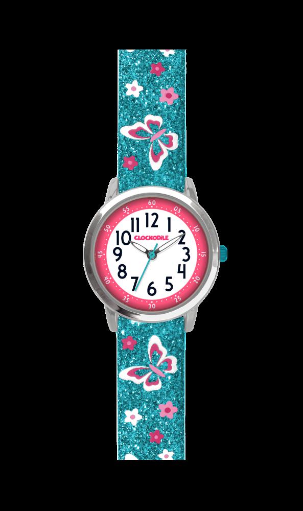 Svítící motýlí tyrkysové dívčí hodinky CLOCKODILE BUTTERFLIES se třpytkami CWG5040