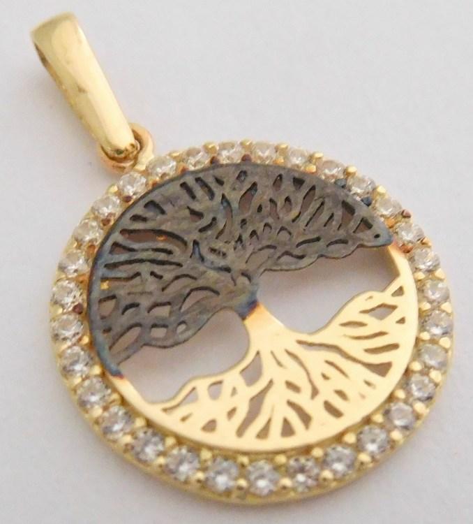 Luxusní gravírovaný zlatý strom života se zirkony v kruhu s černou povrchovou úpravou 585/1,32gr H036