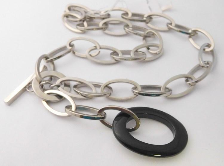 Mohutný dámský ocelový náhrdelník z chirurgické oceli s černou keramikou (oválek) délka cca 45cm F996