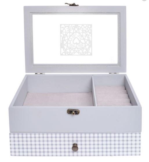 Elegantní dřevěná velká šedá šperkovnice pro drobné šperky 33379/33844