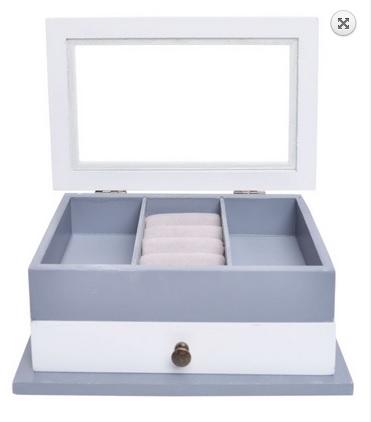 Dvoupatrová dřevěná šedobílá šperkovnice pro drobné šperky s proskleným víkem 33374/33834