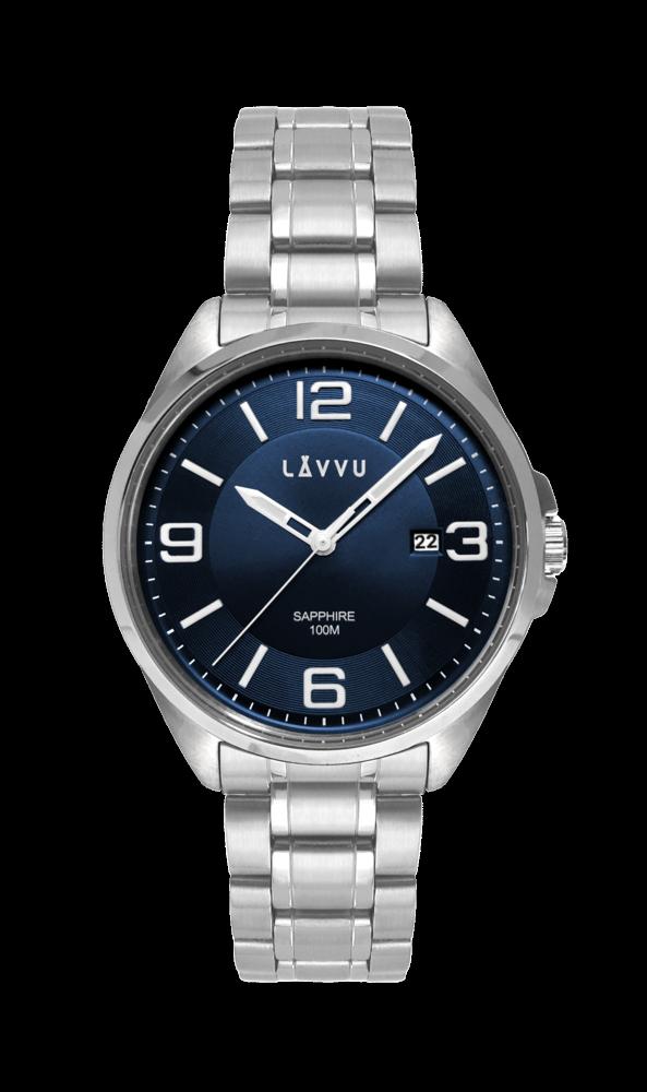 f45e60796db Vodotěsné pánské hodinky se safírovým sklem LAVVU HERNING Blue LWM0091