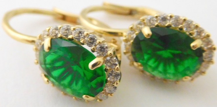 Mohutné zlaté náušnice ze žlutého zlata s velkými zelenými smaragdy a zirkony 585/3,03gr H130
