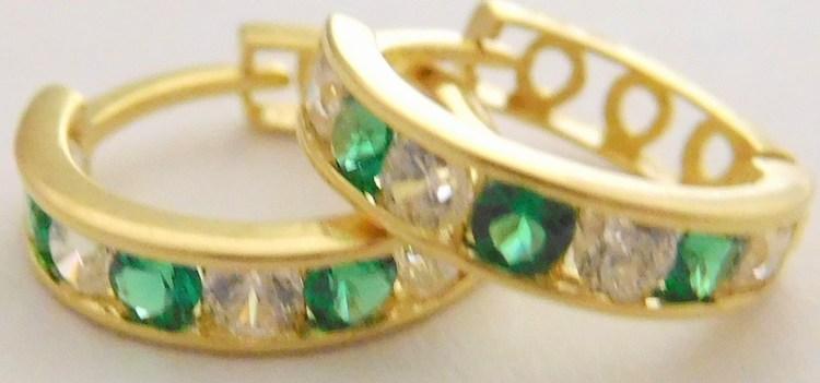 Zlaté kroužky se zirkony a zelenými smaragdy 10mm 585/1,07gr 1231064